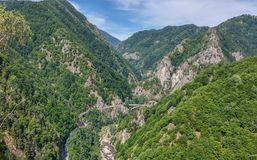 Romania - West part of Transfagarasan. View from old Poenari Castle. The view is facing the west part of Transfagarasan paved mountain road crossing the southern Stock Photography