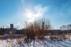 View of the factory with smoke from the pipe edge of the forest winter sun day Stock Images
