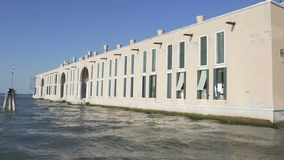 View on factory from water taxi in Venice, transportation, sightseeing. Stock footage stock video