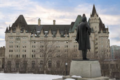 View of Fairmont Chateau Laurier from the Parliament Hill. Ottawa, Canada - February 05, 2016: View of Fairmont Chateau Laurier from the Parliament Hill, Ottawa Royalty Free Stock Image