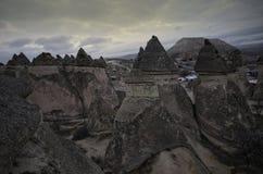 Fairy chimneys at evening time at Cappadocia, Urgup, Turkey stock images