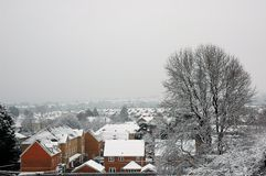 View from Faiwater park. Cardiff Faiwater park covered by snow, horizontally framed picture, view from Faiwater park royalty free stock photo