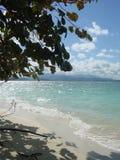 View of Fajardo, Puerto Rico in the Caribbean. Beach. Carribean view from palominito beach out towards mainland Puerto Rico Stock Image