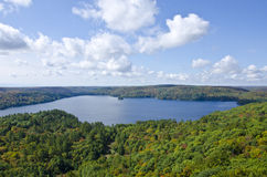 View of Fall Colors from Dorset Tower. View of fall colors and a lake from Dorset Tower in Haliburton #2 stock images