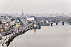 View of the fall Kyiv, skirts, Dnieper River, St. Nicholas Churc Stock Photo