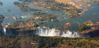 View of the Falls from a height of bird flight. Victoria Falls. Mosi-oa-Tunya National park.Zambiya. and World Heritage Site. Zimb Royalty Free Stock Image