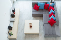 View of family room. View from the top of up-to-date luxury family room Royalty Free Stock Images