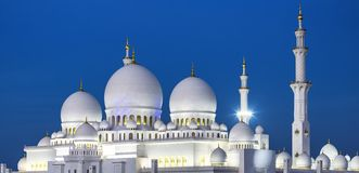 View of famous Abu Dhabi Sheikh Zayed Mosque by night Stock Photo