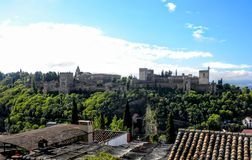 View of famous Alhambra de Granada, Andalusia, Spain, Royalty Free Stock Photography