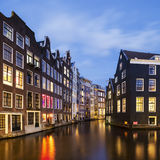 View of famous amsterdam canal by night Royalty Free Stock Photography