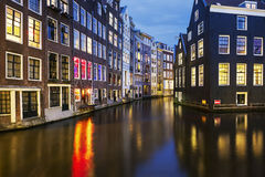 View of famous amsterdam canal at night Royalty Free Stock Photography