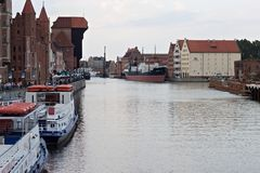 GDANSK, POLAND - JUNE 07, 2014: Panorama of the Motlawa River in the historical part of Gdansk. stock photography