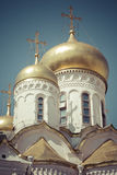 View of Famous The Annunciation Cathedral in Moscow Kremlin, Rus Stock Photos