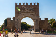 View of the famous Arch of Augustus. Rimini, Italy View of the famous Arch of Augustus Royalty Free Stock Photo