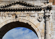 View of the famous Arch of Augustus. Rimini, Italy View of the famous Arch of Augustus Stock Photo