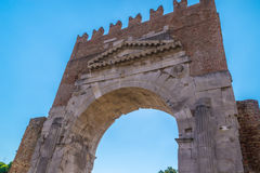 View of the famous Arch of Augustus. Rimini, Italy View of the famous Arch of Augustus Stock Photos