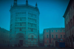 View of famous Baptistery at Duomo square in Parma Stock Photos
