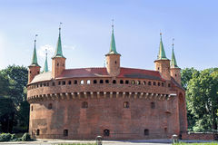 View of famous barbakan in Cracow, Poland. Part of the city wall  fortification. Royalty Free Stock Image