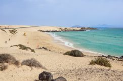 View on famous beach Playa de Jandia - Playa de Sotavento - Playa Lagoon on the Canary Island Fuerteventura, Spain. This. Beach belongs to the best beaches in stock images