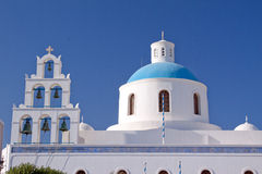 Santorini Cathedral Rooftop Stock Photography
