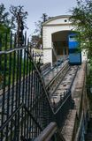 View of the famous blue funicular leading to upper old town of Zagreb, Croatia stock image