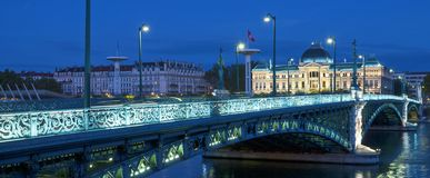 View of famous bridge and University in Lyon Royalty Free Stock Photos