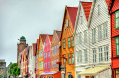 View of famous Bryggen district in Bergen - Norway Stock Photo