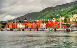 View of famous Bryggen district in Bergen - Norway Royalty Free Stock Image
