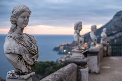 View of the famous busts and the Mediterranean Sea from the Terrace of Infinity at the gardens of Villa Cimbrone, Ravello, Italy