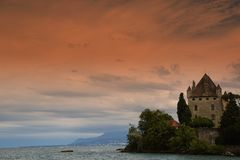 Chateau d`Yvoire. View of the famous Château d`Yvoire on the lake Leman in Haute-Savoire, France. The castle was built in the XIII th century Stock Images