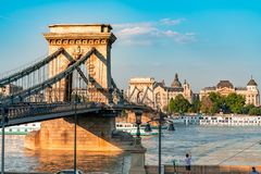 View on the famous Chain Bridge in Budapest, Hungary stock images