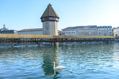 View of the famous Chapel Bridge in Lucerne Stock Images