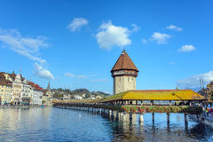 View of the famous Chapel Bridge in Lucerne Stock Photo