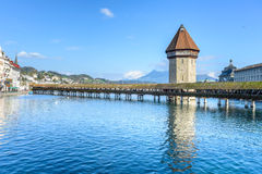 View of the famous Chapel Bridge in Lucerne Royalty Free Stock Photo