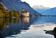 View of famous Chateau de Chillon at Lake Geneva one of Switzerl Royalty Free Stock Photography
