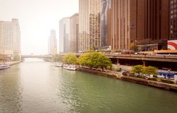View of the famous Chicago river walk