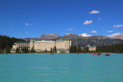 View of the famous Fairmont Chateau Lake Louise Hotel Royalty Free Stock Image