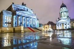 Gendarmenmarkt square illuminated during sunset in Berlin city center, Germany Stock Photos
