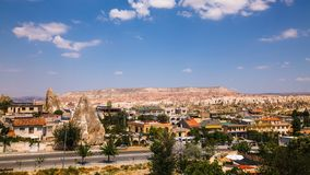 View of famous Goreme village in Cappadocia at day time in Turkey. View of Goreme village in Cappadocia at day time in Turkey Stock Image