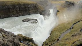 View on a famous icelandic waterfall Gullfoss and Hvita river valley at the bottom in fall day. View on a famous icelandic waterfall Gullfoss and Hvita river stock footage
