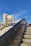 View of famous Intercontinental hotel from subway escalator Stock Image