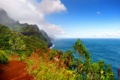 View of the famous Kalalau trail along Na Pali coast of the island of Kauai. Stunning view of the famous Kalalau trail along Na Pali coast of the island of Kauai Stock Photo
