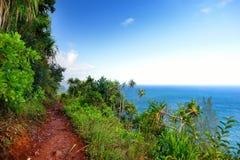 View of the famous Kalalau trail along Na Pali coast of the island of Kauai Royalty Free Stock Photos
