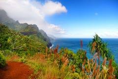 View of the famous Kalalau trail along Na Pali coast of the island of Kauai Stock Image