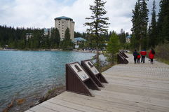 View of the famous lake Louise. Royalty Free Stock Image