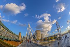 View with famous London Eye from Golden Jubilee bridge, London Royalty Free Stock Photos