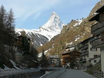 View of the famous Matterhorn and Zermatt in the Swiss Alps in the evening stock images