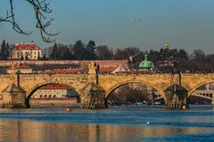 View of famous medieval stone Charles bridge royalty free stock photos