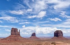 View of the famous Monument Valley in daylight. View of the famous Monument Valley, Colorado, USA, in daylight with blue sky full of clouds Royalty Free Stock Photos