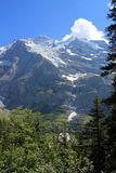 View at the famous mountain the Jungfrau in Switzerland, Berner Oberland. View at the Jungfrau, famous impressive mountain in Switzerland. With snow and glacier royalty free stock photo